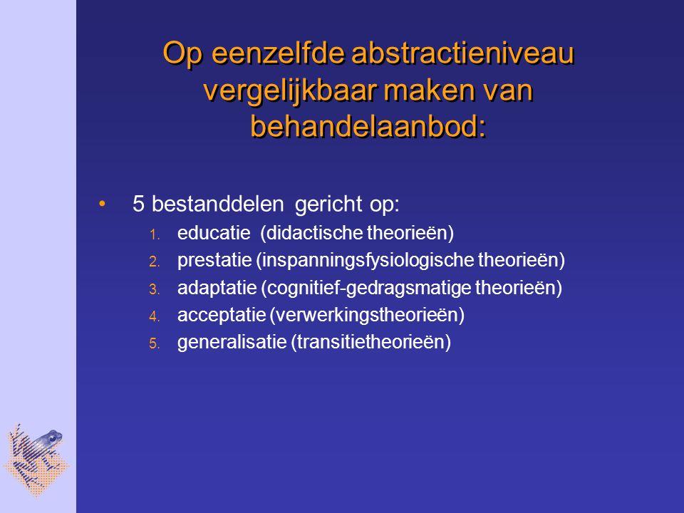 Op eenzelfde abstractieniveau vergelijkbaar maken van behandelaanbod: 5 bestanddelen gericht op: 1.