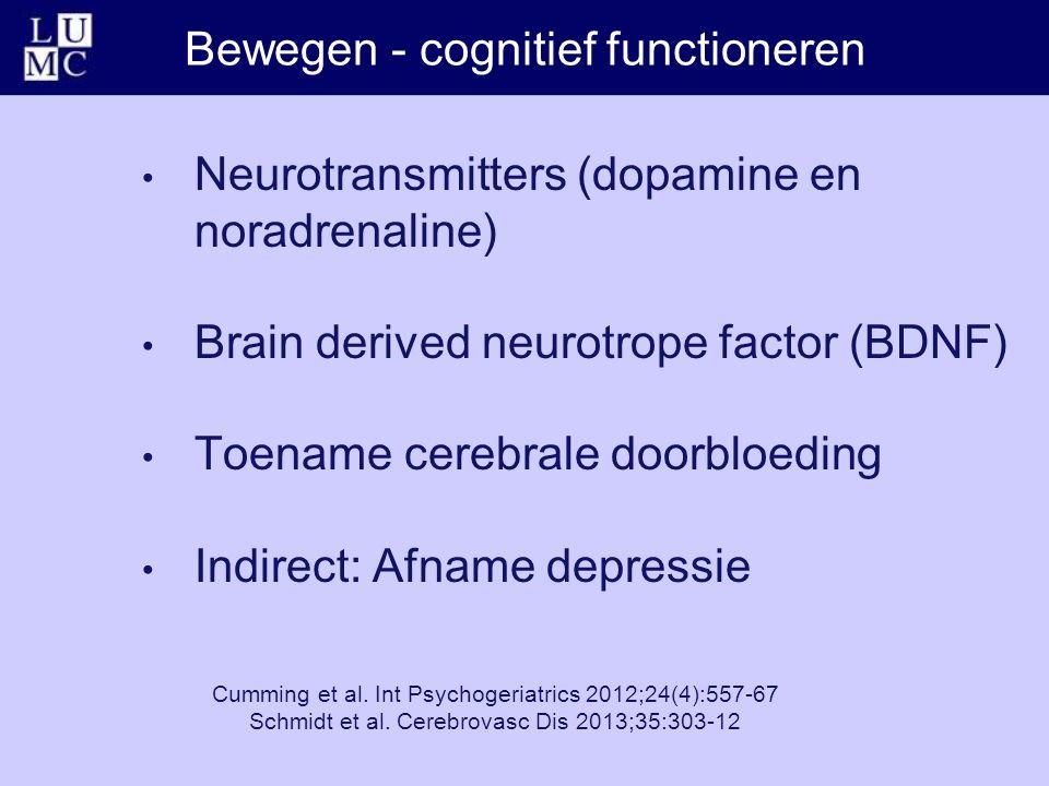 Bewegen - cognitief functioneren Neurotransmitters (dopamine en noradrenaline) Brain derived neurotrope factor (BDNF) Toename cerebrale doorbloeding Indirect: Afname depressie Cumming et al.