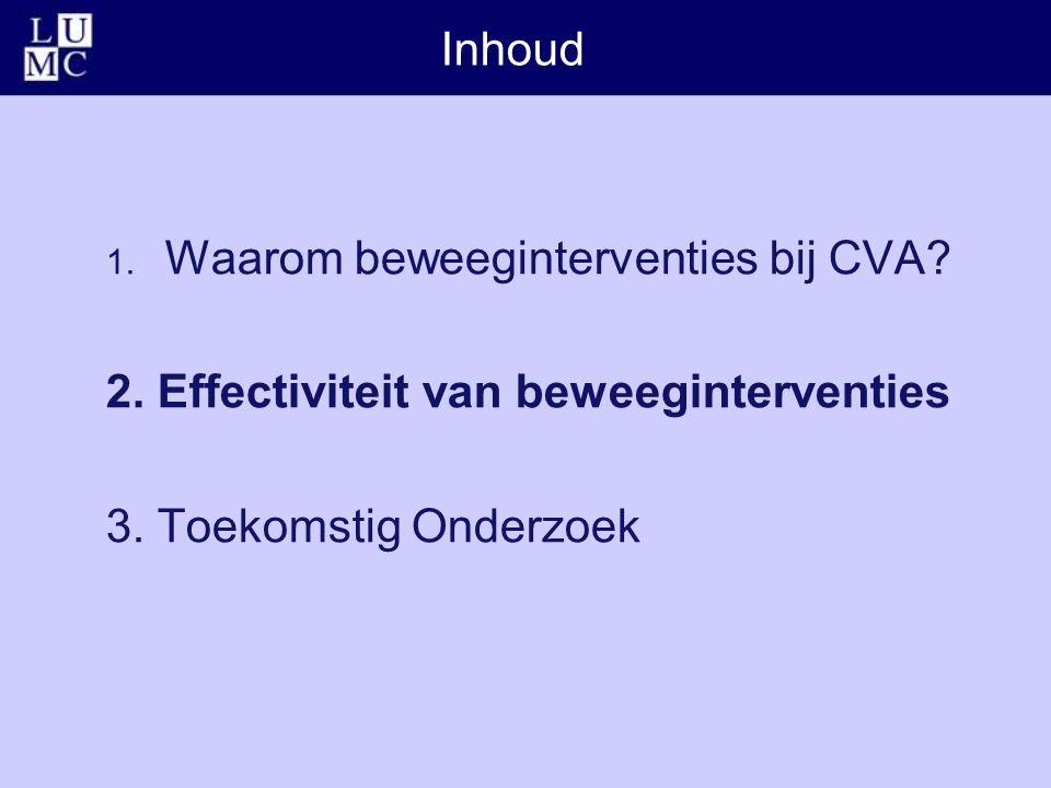 Inhoud 1. Waarom beweeginterventies bij CVA? 2. Effectiviteit van beweeginterventies 3. Toekomstig Onderzoek