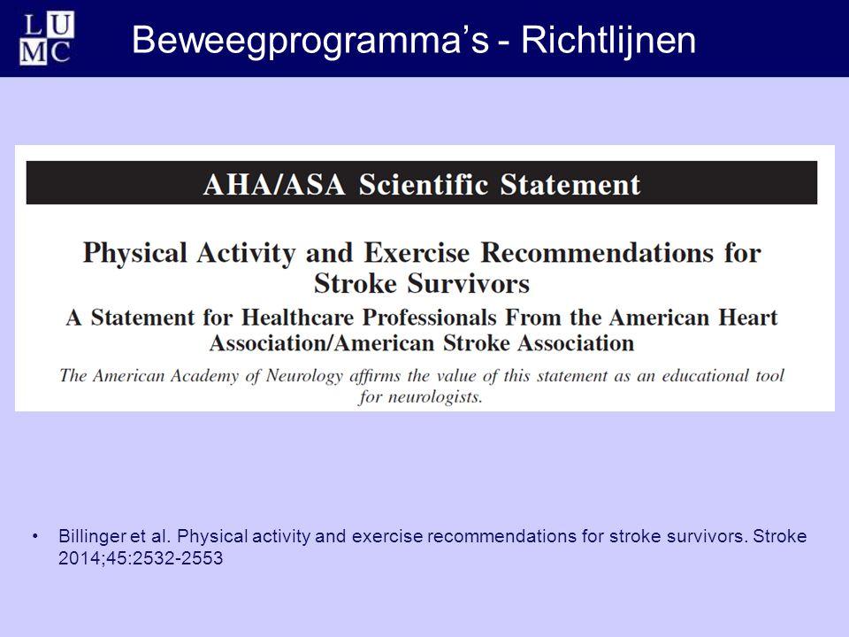 Beweegprogramma's - Richtlijnen Billinger et al.