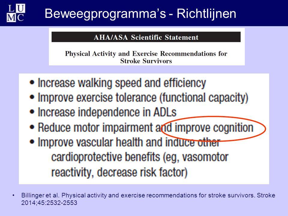 Beweegprogramma's - Richtlijnen Billinger et al. Physical activity and exercise recommendations for stroke survivors. Stroke 2014;45:2532-2553