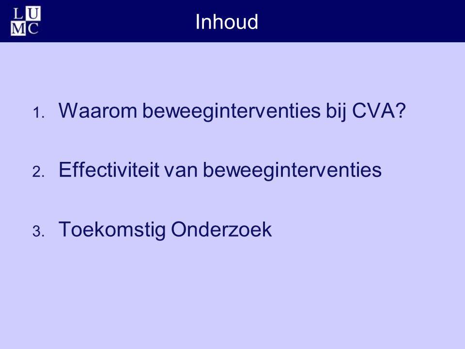 Inhoud 1. Waarom beweeginterventies bij CVA. 2. Effectiviteit van beweeginterventies 3.
