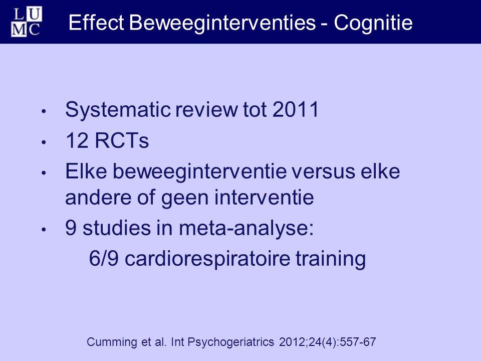 Effect Beweeginterventies - Cognitie Cumming et al. Int Psychogeriatrics 2012;24(4):557-67 Systematic review tot 2011 12 RCTs Elke beweeginterventie v