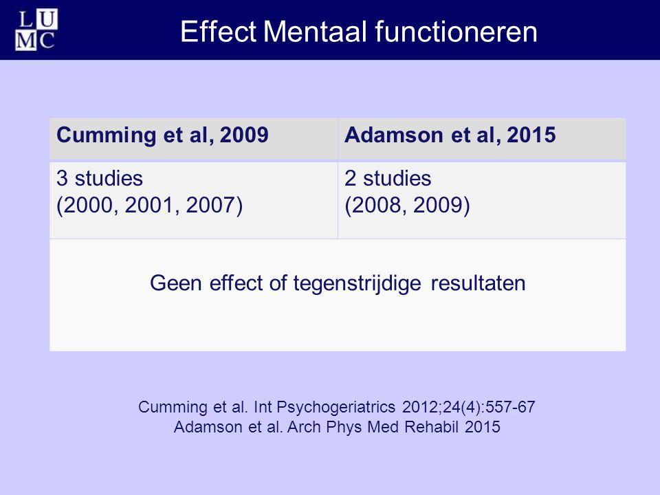 Effect Mentaal functioneren Cumming et al. Int Psychogeriatrics 2012;24(4):557-67 Adamson et al.