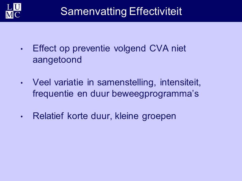 Samenvatting Effectiviteit Effect op preventie volgend CVA niet aangetoond Veel variatie in samenstelling, intensiteit, frequentie en duur beweegprogramma's Relatief korte duur, kleine groepen