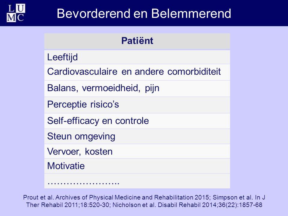 Bevorderend en Belemmerend Patiënt Leeftijd Cardiovasculaire en andere comorbiditeit Balans, vermoeidheid, pijn Perceptie risico's Self-efficacy en co