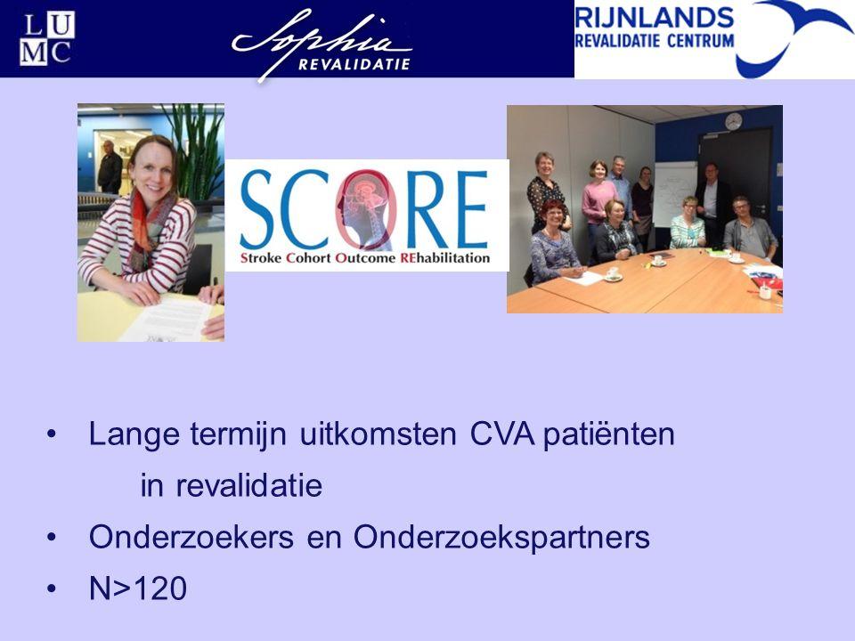 Lange termijn uitkomsten CVA patiënten in revalidatie Onderzoekers en Onderzoekspartners N>120