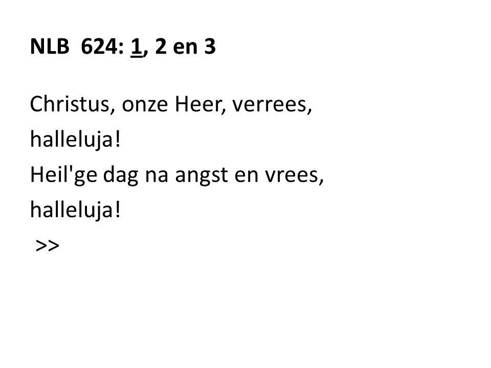NLB 624: 1, 2 en 3 Christus, onze Heer, verrees, halleluja.