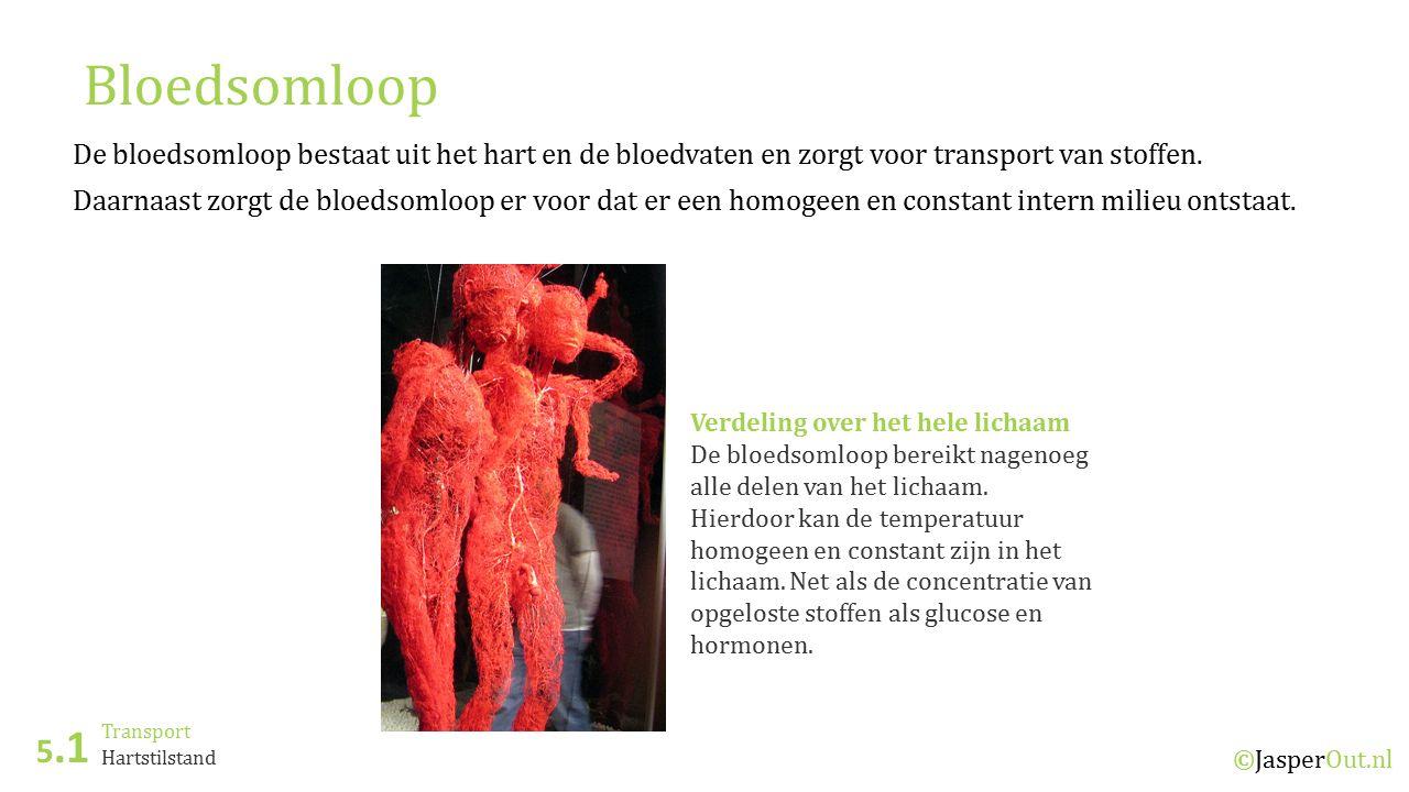 Transport 5.1 ©JasperOut.nl Hartstilstand Bloedsomloop De bloedsomloop bestaat uit het hart en de bloedvaten en zorgt voor transport van stoffen.