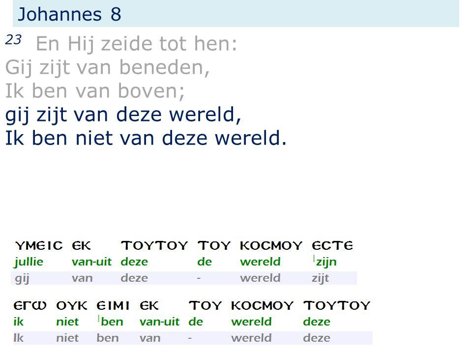 Johannes 8 23 En Hij zeide tot hen: Gij zijt van beneden, Ik ben van boven; gij zijt van deze wereld, Ik ben niet van deze wereld.