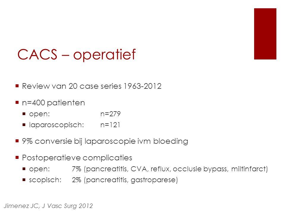 CACS – operatief  Review van 20 case series 1963-2012  n=400 patienten  open: n=279  laparoscopisch: n=121  9% conversie bij laparoscopie ivm blo