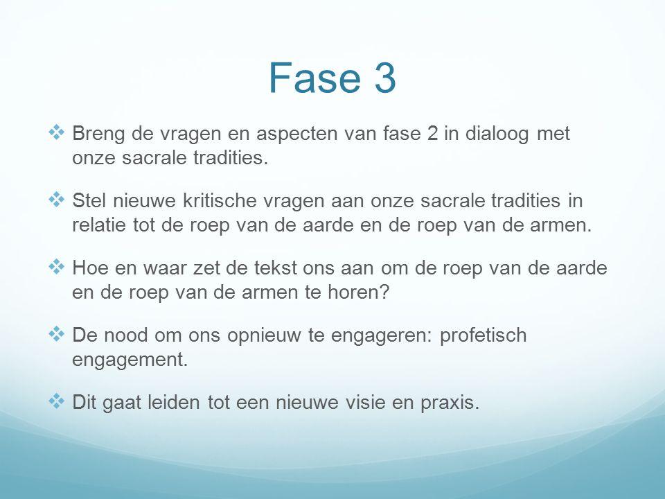 Fase 3  Breng de vragen en aspecten van fase 2 in dialoog met onze sacrale tradities.  Stel nieuwe kritische vragen aan onze sacrale tradities in re