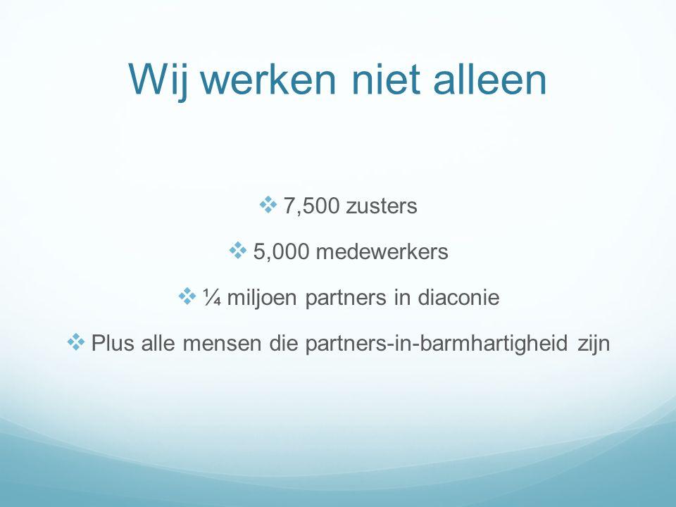 Wij werken niet alleen  7,500 zusters  5,000 medewerkers  ¼ miljoen partners in diaconie  Plus alle mensen die partners-in-barmhartigheid zijn