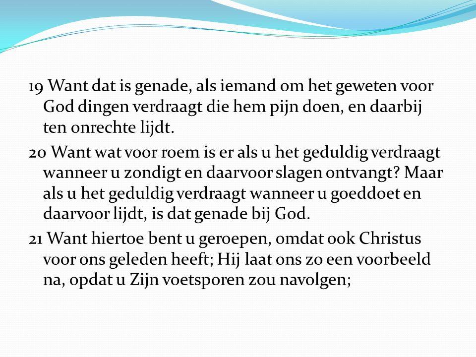 19 Want dat is genade, als iemand om het geweten voor God dingen verdraagt die hem pijn doen, en daarbij ten onrechte lijdt.