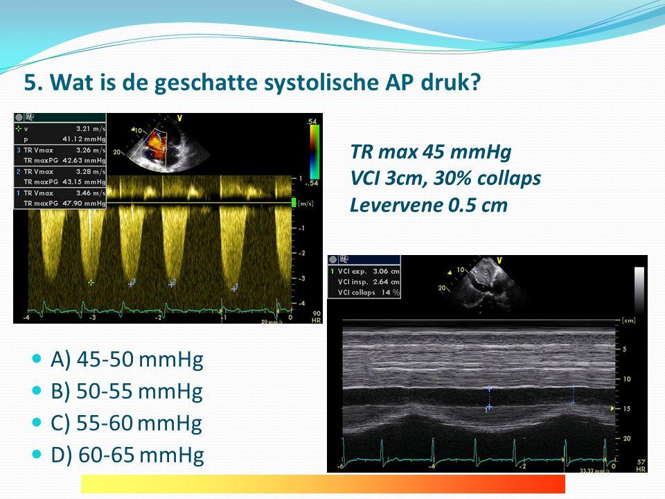 5.Wat is de geschatte systolische AP druk.