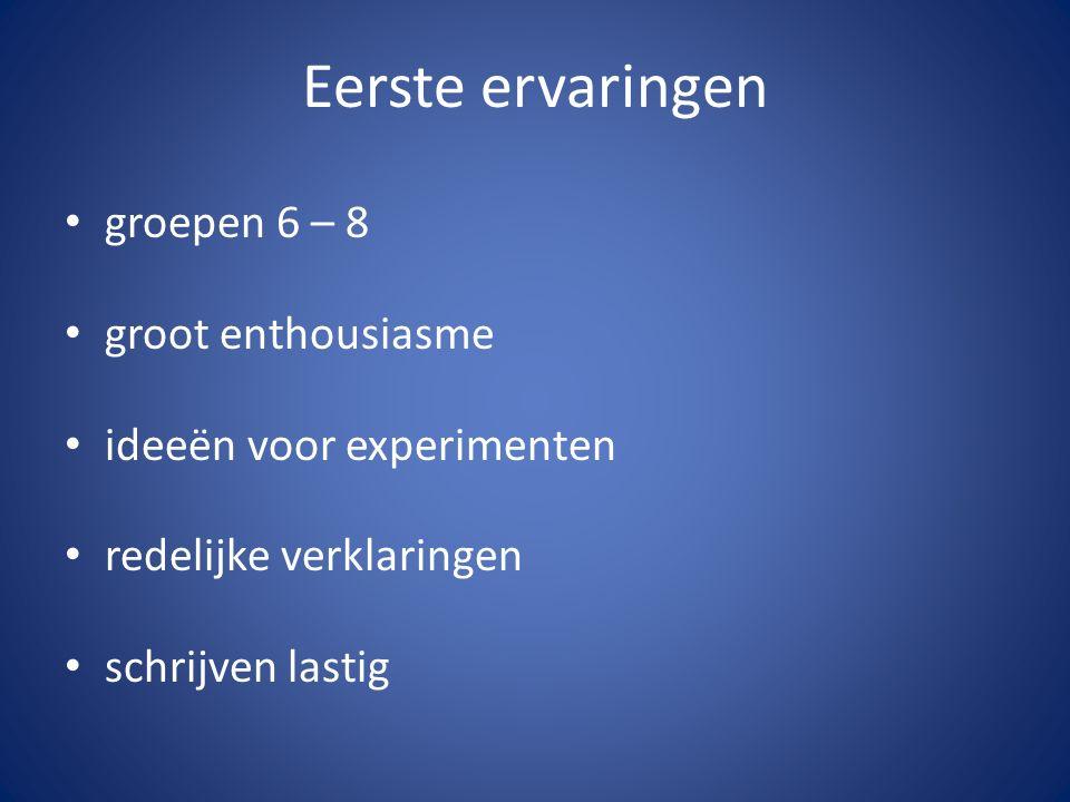 Eerste ervaringen groepen 6 – 8 groot enthousiasme ideeën voor experimenten redelijke verklaringen schrijven lastig