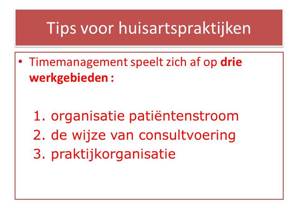 Tips voor huisartspraktijken Timemanagement speelt zich af op drie werkgebieden : 1.