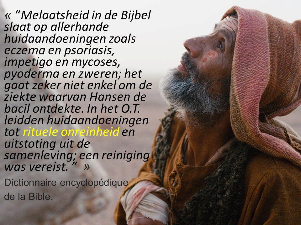 « Melaatsheid in de Bijbel slaat op allerhande huidaandoeningen zoals eczema en psoriasis, impetigo en mycoses, pyoderma en zweren; het gaat zeker niet enkel om de ziekte waarvan Hansen de bacil ontdekte.
