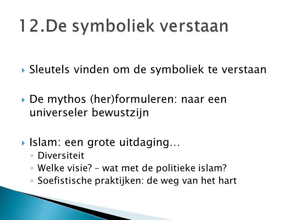  Sleutels vinden om de symboliek te verstaan  De mythos (her)formuleren: naar een universeler bewustzijn  Islam: een grote uitdaging… ◦ Diversiteit ◦ Welke visie.
