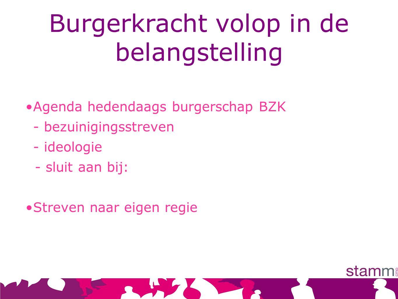 Burgerkracht volop in de belangstelling Agenda hedendaags burgerschap BZK - bezuinigingsstreven - ideologie - sluit aan bij: Streven naar eigen regie