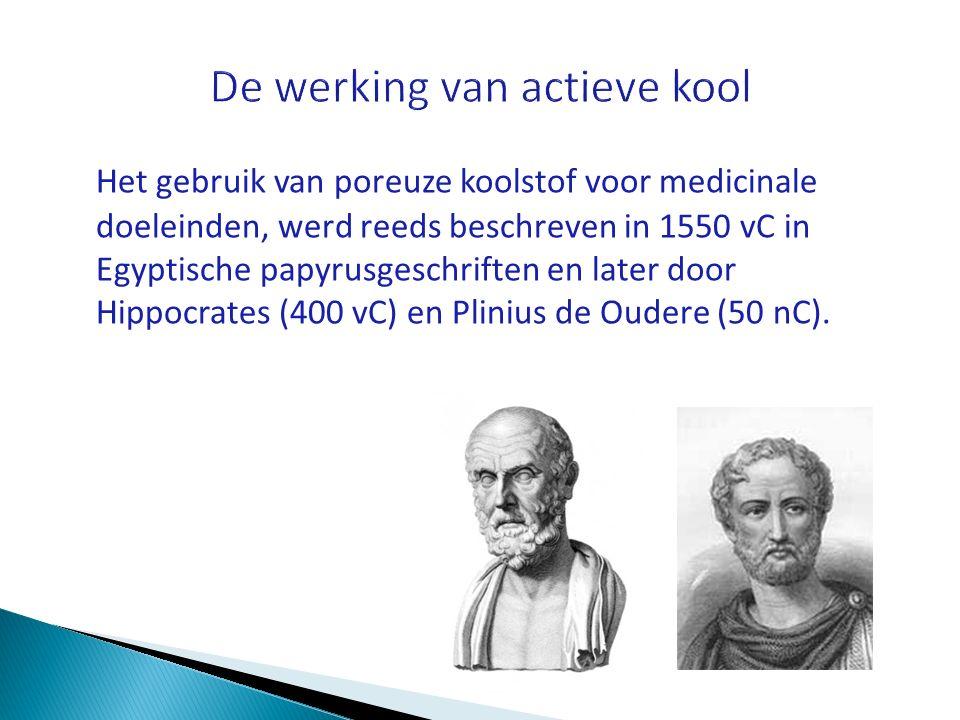 Het gebruik van poreuze koolstof voor medicinale doeleinden, werd reeds beschreven in 1550 vC in Egyptische papyrusgeschriften en later door Hippocrat