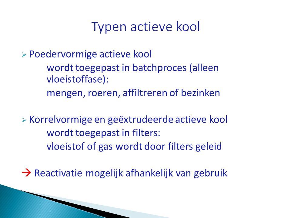  Poedervormige actieve kool wordt toegepast in batchproces (alleen vloeistoffase): mengen, roeren, affiltreren of bezinken  Korrelvormige en geëxtru