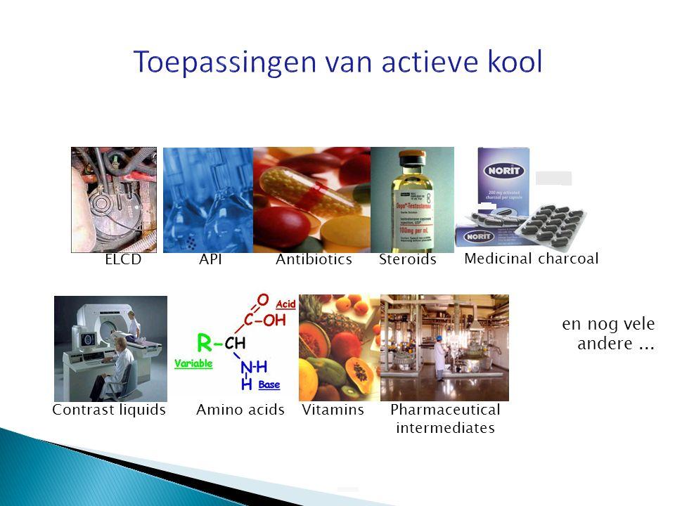 ELCDAPIAntibioticsSteroids Amino acidsContrast liquidsPharmaceutical intermediates Vitamins Medicinal charcoal en nog vele andere...