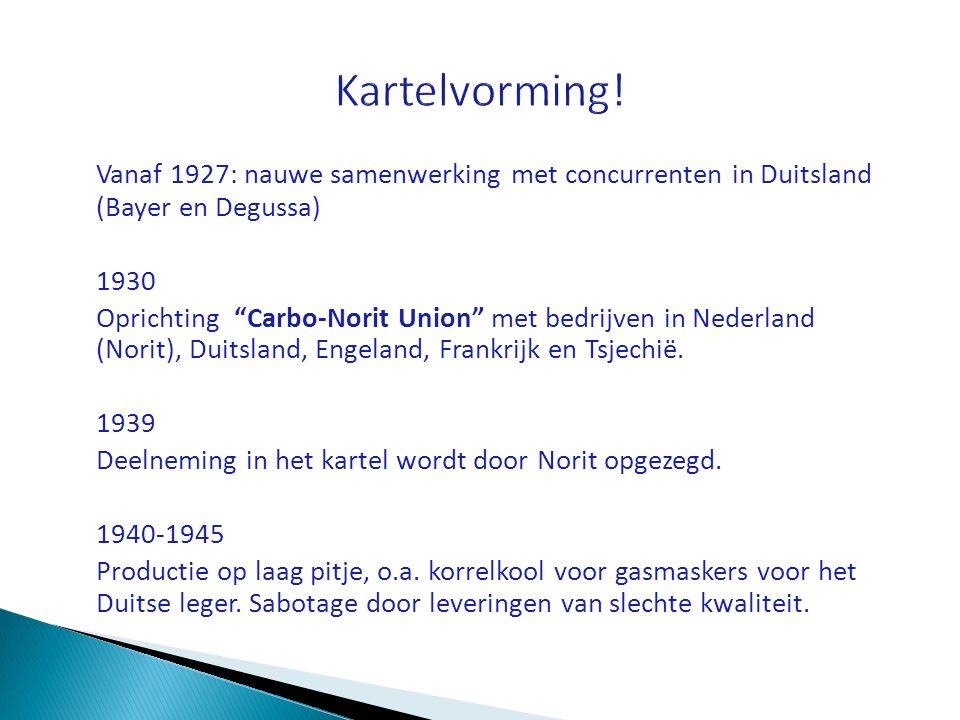 """Vanaf 1927: nauwe samenwerking met concurrenten in Duitsland (Bayer en Degussa) 1930 Oprichting """"Carbo-Norit Union"""" met bedrijven in Nederland (Norit)"""