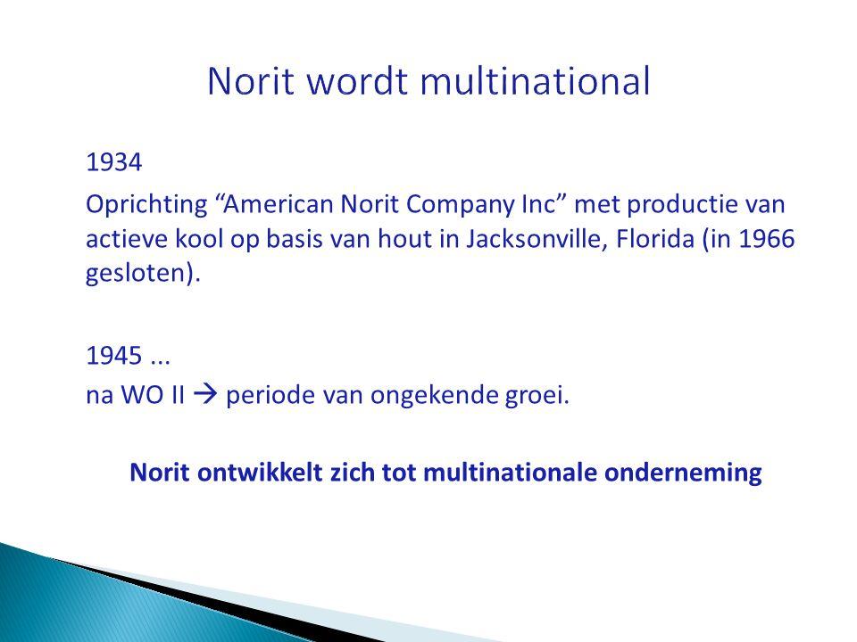 """1934 Oprichting """"American Norit Company Inc"""" met productie van actieve kool op basis van hout in Jacksonville, Florida (in 1966 gesloten). 1945... na"""