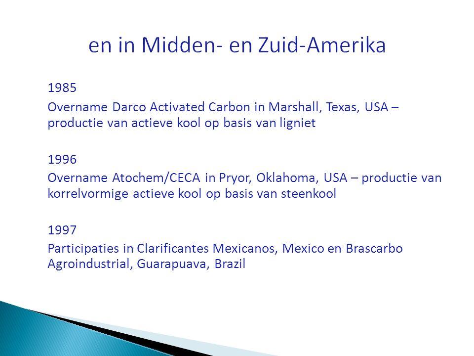 1985 Overname Darco Activated Carbon in Marshall, Texas, USA – productie van actieve kool op basis van ligniet 1996 Overname Atochem/CECA in Pryor, Ok