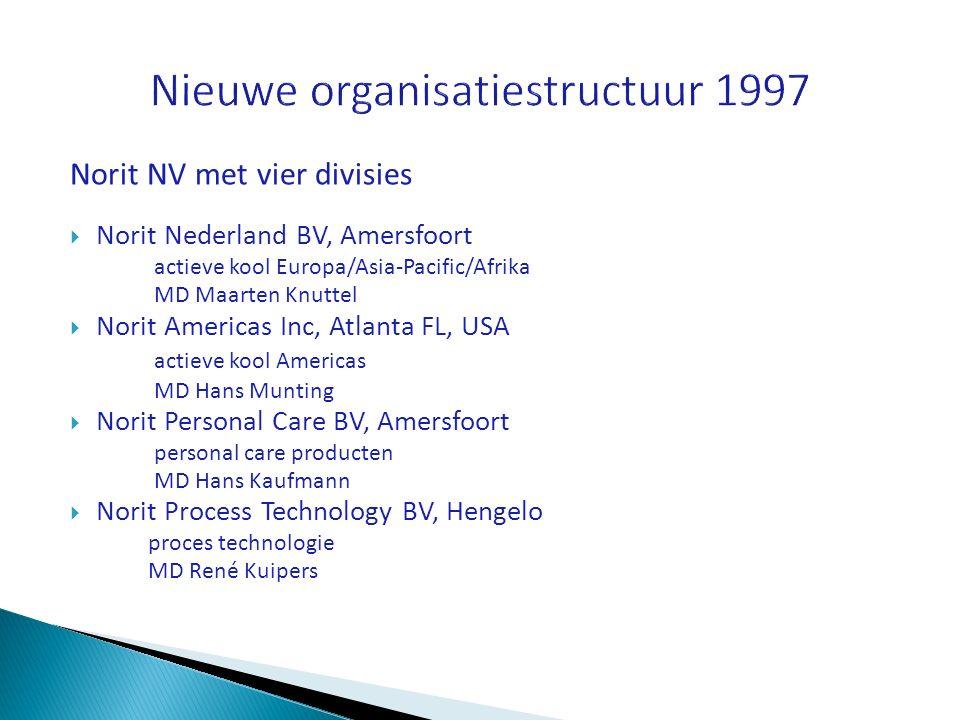 Norit NV met vier divisies  Norit Nederland BV, Amersfoort actieve kool Europa/Asia-Pacific/Afrika MD Maarten Knuttel  Norit Americas Inc, Atlanta F