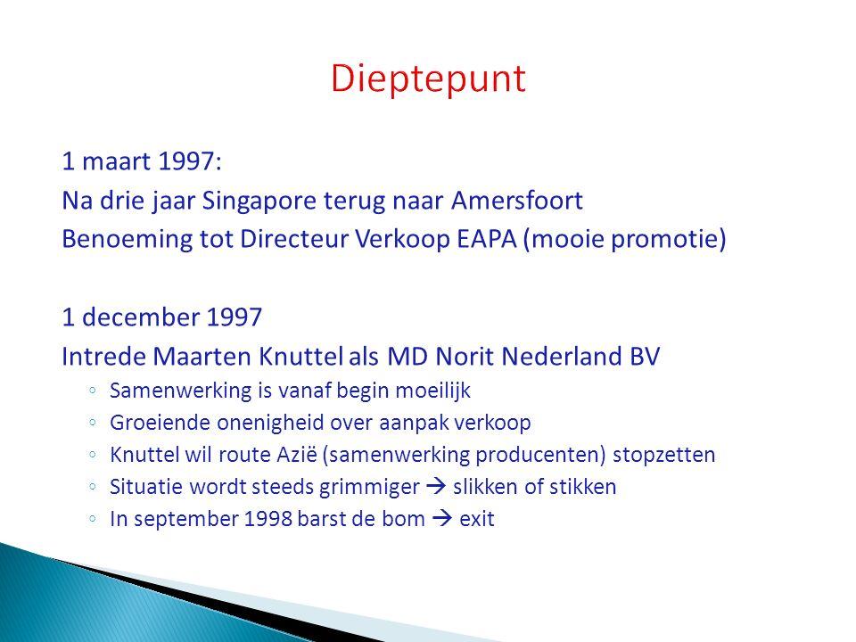 1 maart 1997: Na drie jaar Singapore terug naar Amersfoort Benoeming tot Directeur Verkoop EAPA (mooie promotie) 1 december 1997 Intrede Maarten Knutt