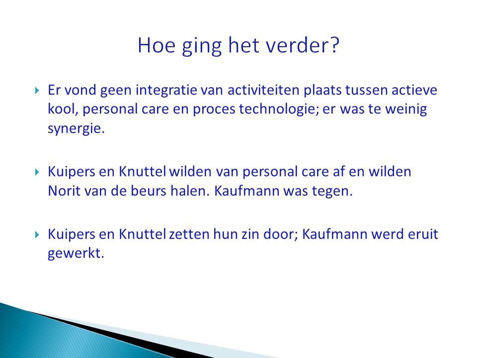  Er vond geen integratie van activiteiten plaats tussen actieve kool, personal care en proces technologie; er was te weinig synergie.  Kuipers en Kn