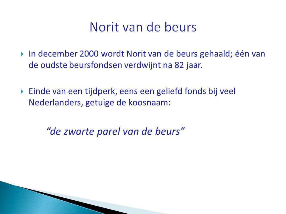  In december 2000 wordt Norit van de beurs gehaald; één van de oudste beursfondsen verdwijnt na 82 jaar.  Einde van een tijdperk, eens een geliefd f
