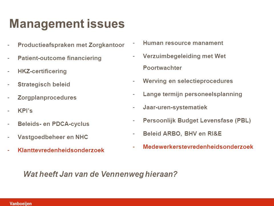 Management issues -Productieafspraken met Zorgkantoor -Patient-outcome financiering -HKZ-certificering -Strategisch beleid -Zorgplanprocedures -KPI's -Beleids- en PDCA-cyclus -Vastgoedbeheer en NHC -Klanttevredenheidsonderzoek -Human resource manament -Verzuimbegeleiding met Wet Poortwachter -Werving en selectieprocedures -Lange termijn personeelsplanning -Jaar-uren-systematiek -Persoonlijk Budget Levensfase (PBL) -Beleid ARBO, BHV en RI&E -Medewerkerstevredenheidsonderzoek Wat heeft Jan van de Vennenweg hieraan?