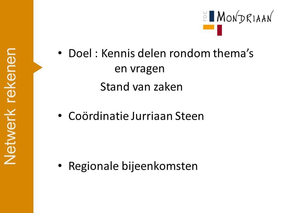 Doel : Kennis delen rondom thema's en vragen Stand van zaken Coördinatie Jurriaan Steen Regionale bijeenkomsten Netwerk rekenen