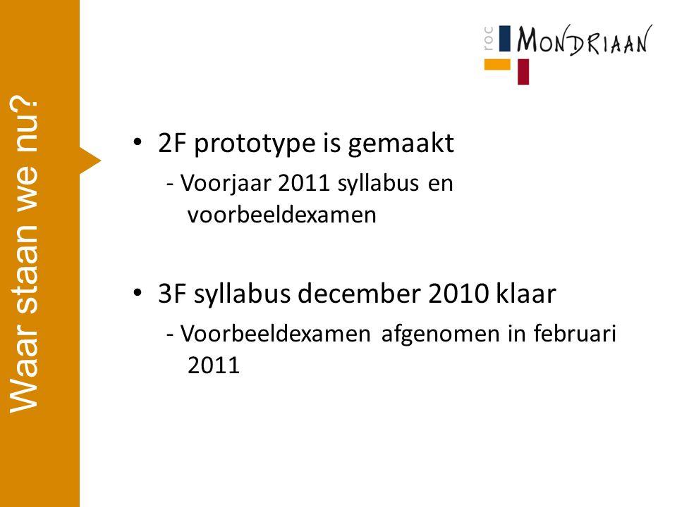 2F prototype is gemaakt - Voorjaar 2011 syllabus en voorbeeldexamen 3F syllabus december 2010 klaar - Voorbeeldexamen afgenomen in februari 2011 Waar staan we nu