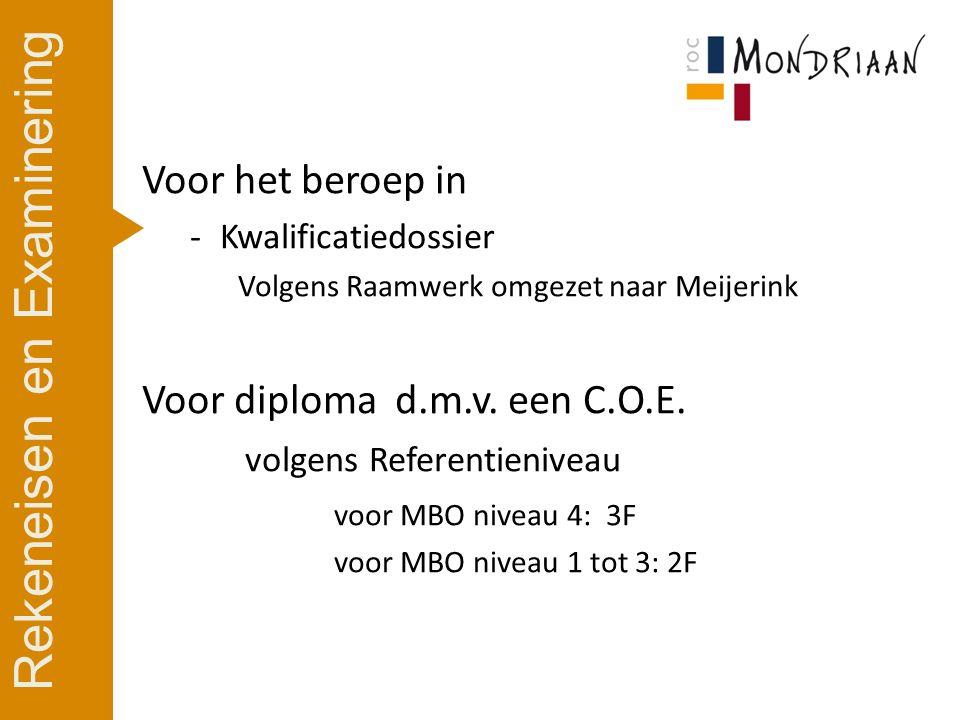 Voor het beroep in -Kwalificatiedossier Volgens Raamwerk omgezet naar Meijerink Voor diploma d.m.v.