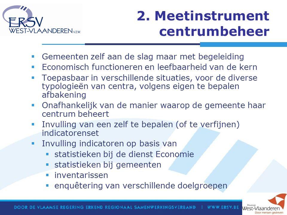 2. Meetinstrument centrumbeheer  Gemeenten zelf aan de slag maar met begeleiding  Economisch functioneren en leefbaarheid van de kern  Toepasbaar i