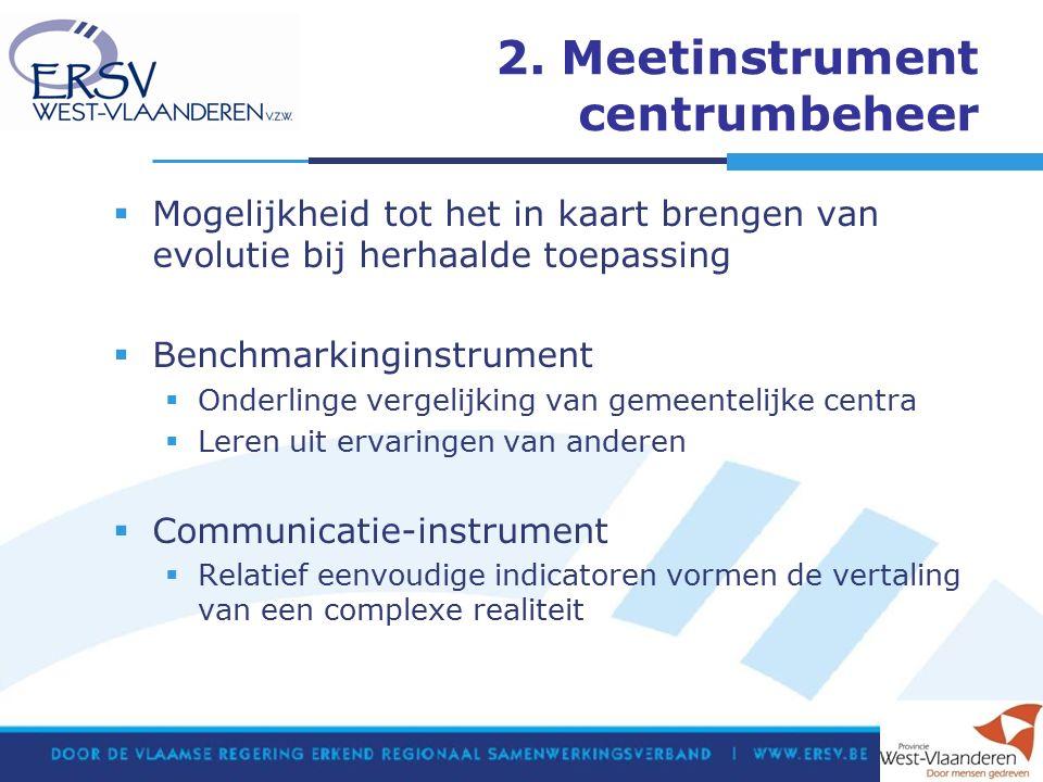 2. Meetinstrument centrumbeheer  Mogelijkheid tot het in kaart brengen van evolutie bij herhaalde toepassing  Benchmarkinginstrument  Onderlinge ve