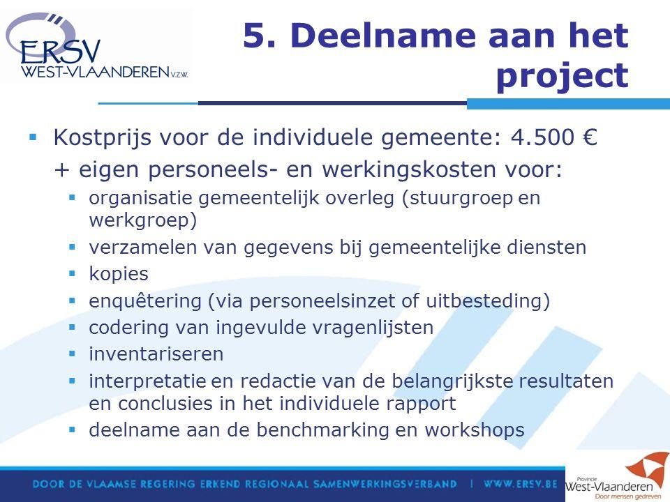 5. Deelname aan het project  Kostprijs voor de individuele gemeente: 4.500 € + eigen personeels- en werkingskosten voor:  organisatie gemeentelijk o