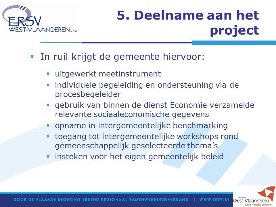 5. Deelname aan het project  In ruil krijgt de gemeente hiervoor:  uitgewerkt meetinstrument  individuele begeleiding en ondersteuning via de proce