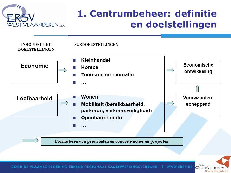 1. Centrumbeheer: definitie en doelstellingen Leefbaarheid Kleinhandel Horeca Toerisme en recreatie … Wonen Mobiliteit (bereikbaarheid, parkeren, verk