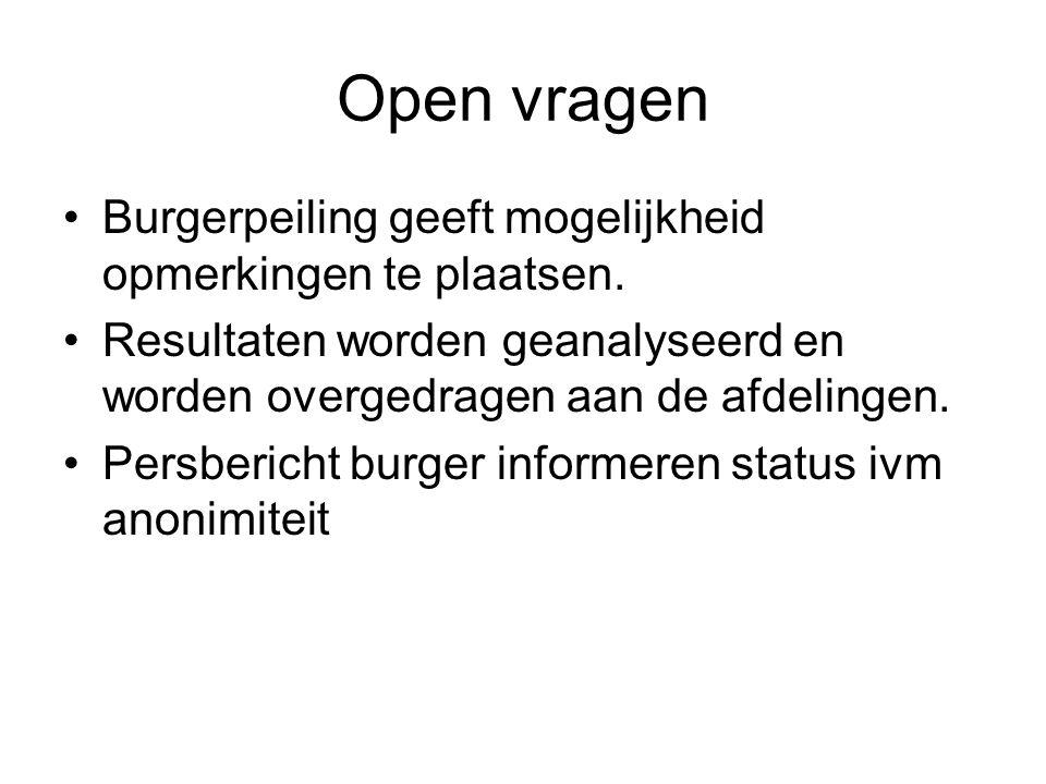Open vragen Burgerpeiling geeft mogelijkheid opmerkingen te plaatsen.