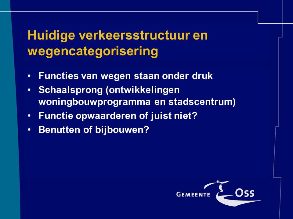 Huidige verkeersstructuur en wegencategorisering Functies van wegen staan onder druk Schaalsprong (ontwikkelingen woningbouwprogramma en stadscentrum) Functie opwaarderen of juist niet.