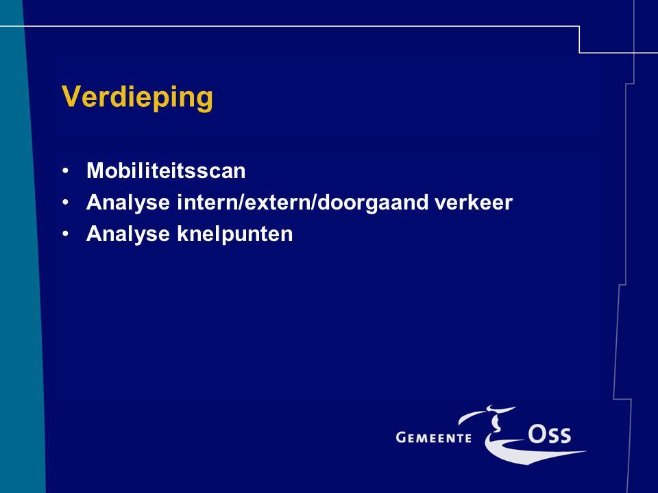 Verdieping Mobiliteitsscan Analyse intern/extern/doorgaand verkeer Analyse knelpunten
