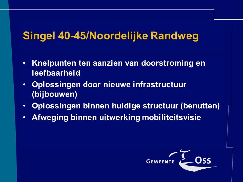 Singel 40-45/Noordelijke Randweg Knelpunten ten aanzien van doorstroming en leefbaarheid Oplossingen door nieuwe infrastructuur (bijbouwen) Oplossingen binnen huidige structuur (benutten) Afweging binnen uitwerking mobiliteitsvisie