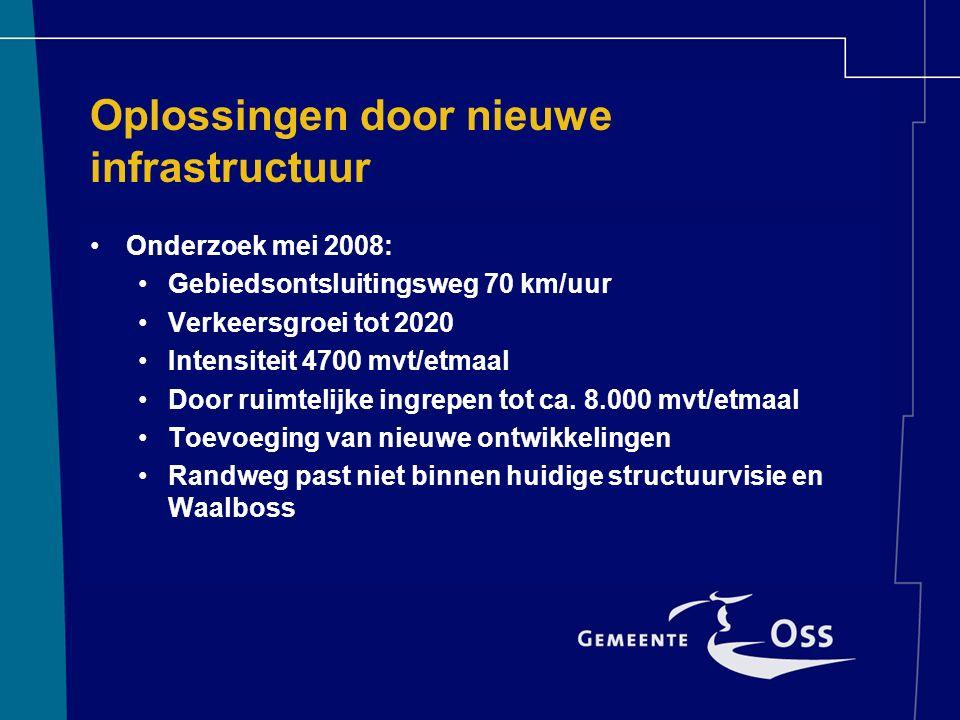 Oplossingen door nieuwe infrastructuur Onderzoek mei 2008: Gebiedsontsluitingsweg 70 km/uur Verkeersgroei tot 2020 Intensiteit 4700 mvt/etmaal Door ruimtelijke ingrepen tot ca.