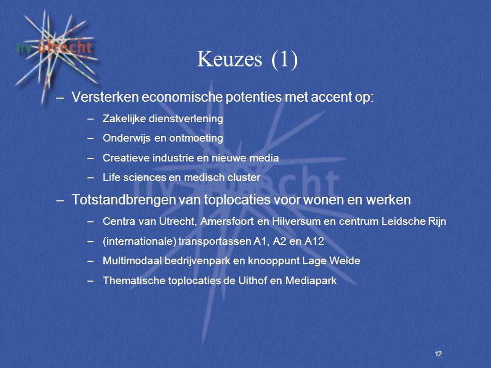 12 Keuzes (1) –Versterken economische potenties met accent op: –Zakelijke dienstverlening –Onderwijs en ontmoeting –Creatieve industrie en nieuwe media –Life sciences en medisch cluster –Totstandbrengen van toplocaties voor wonen en werken –Centra van Utrecht, Amersfoort en Hilversum en centrum Leidsche Rijn –(internationale) transportassen A1, A2 en A12 –Multimodaal bedrijvenpark en knooppunt Lage Weide –Thematische toplocaties de Uithof en Mediapark