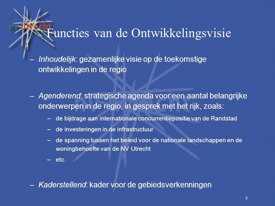 5 Functies van de Ontwikkelingsvisie –Inhoudelijk: gezamenlijke visie op de toekomstige ontwikkelingen in de regio –Agenderend: strategische agenda voor een aantal belangrijke onderwerpen in de regio, in gesprek met het rijk, zoals: –de bijdrage aan internationale concurrentiepositie van de Randstad –de investeringen in de infrastructuur –de spanning tussen het beleid voor de nationale landschappen en de woningbehoefte van de NV Utrecht –etc.